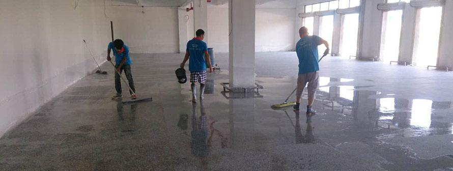 【河北】三一重工混凝土固化地坪,使用德立固水泥地面处理剂