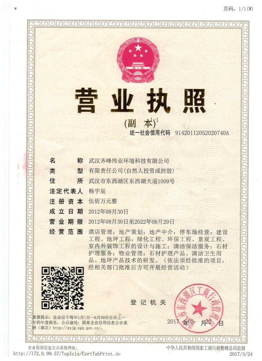 武汉德立固材料股份有限公司营业执照